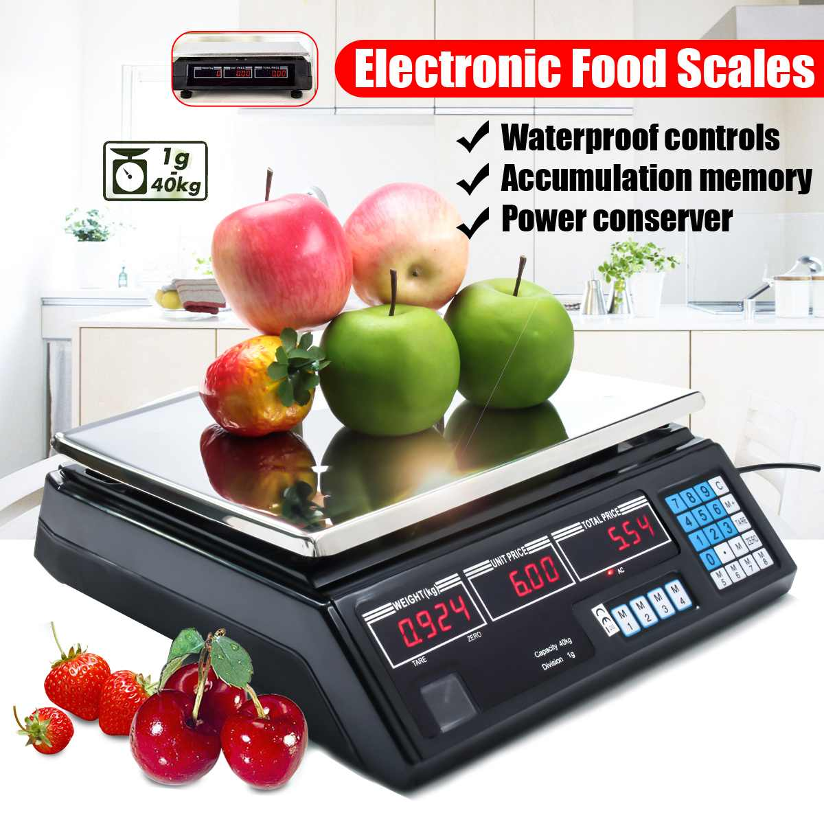 40kg Max Weight Portable Kitchen Digital Food Scale LCD Electronic Weight Food Scales Waterproof For Commercial Shop