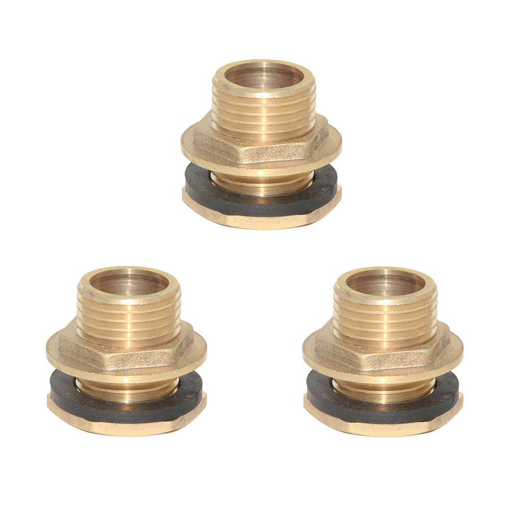 3x Brass Water Tank Cistern Hose Tube Connector Pipe Fittings DN15 (NPT 1/2'')