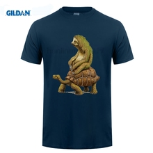 GILDAN mens t shirts fashion  Tortoise design t-shirt Sloth Riding Turtle Harajuku funny tee Hipster O-neck cool tops