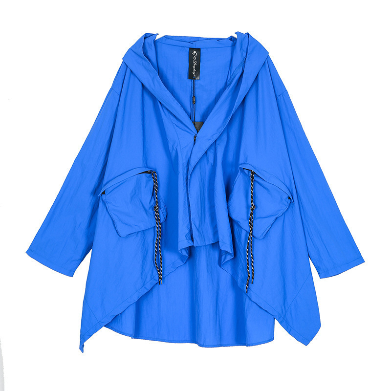 DEAT 2020 Large Size Thin Type Hooded Short Type Windbreaker For Women New Fashion Irregular Overcoat Female Vestido YG491