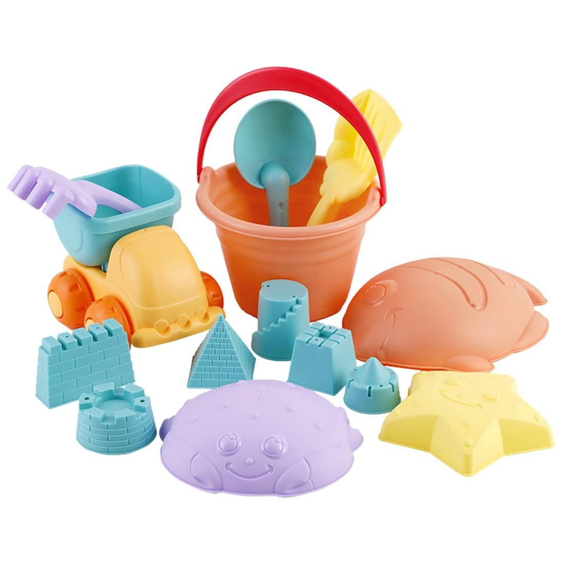 14Pcs Soft Rubber Outdoor Beach Sand Toy Set Baby Beach Bucket Playset For Kids Beach Sand Toys Set - Random Color