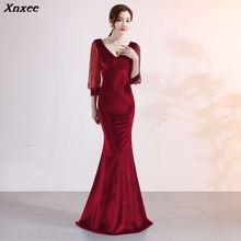 Xnxee Vestido De Festa Sexy Women Elegant Transparent Half Sleeve V-Neck Velvet Long Mermaid  Evening Party Dress