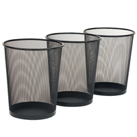 3 Pack Round Mesh Wastebasket Recycling Bin, 6 Gal, 12in Diameter Top x 14in H, Black
