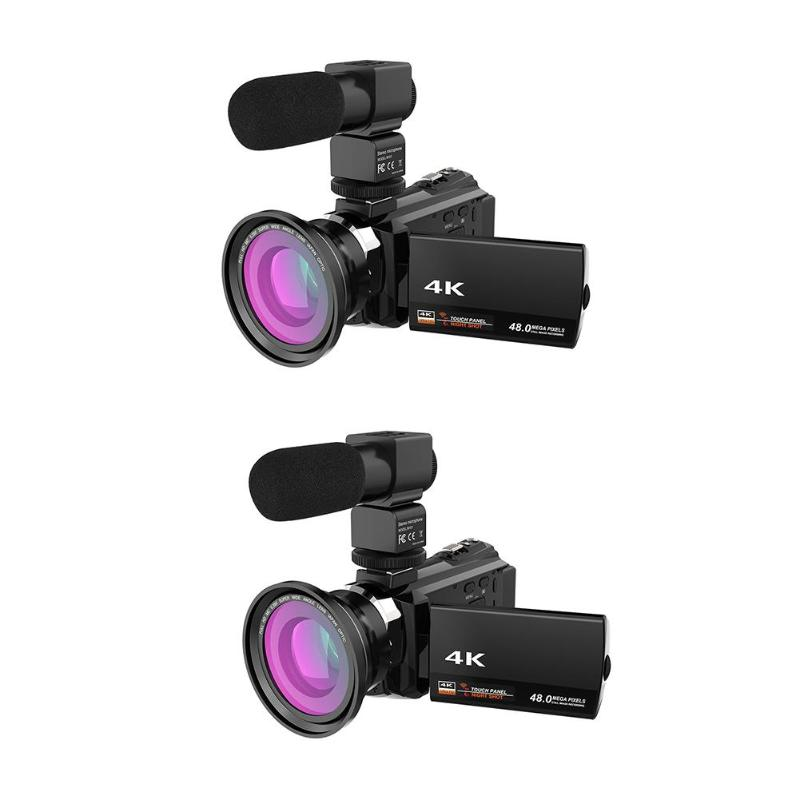 ALLOET Sans Fil WiFi 4 k Ultra HD 1080 p 48MP 16X ZOOM Numérique Vidéo Caméra Caméscope + Microphone + Large objectif grand Angle Caméra Vidéo