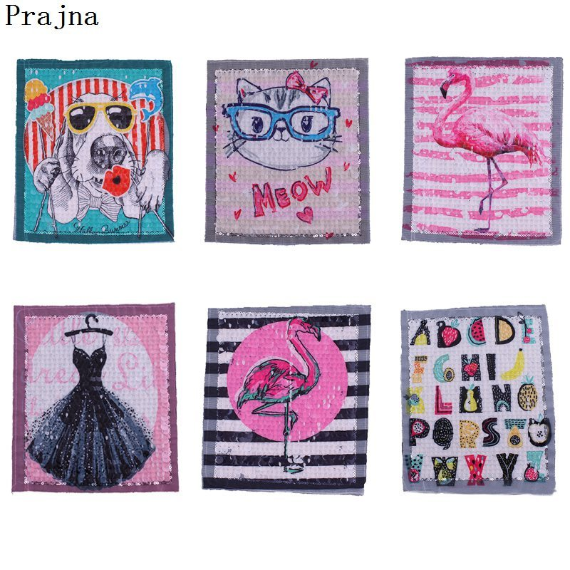 Prajna Sew On Clothing Cartoon Red Flamingo Patch Sequins Animal Cat Dog Reversible Stripe Applique For New Style