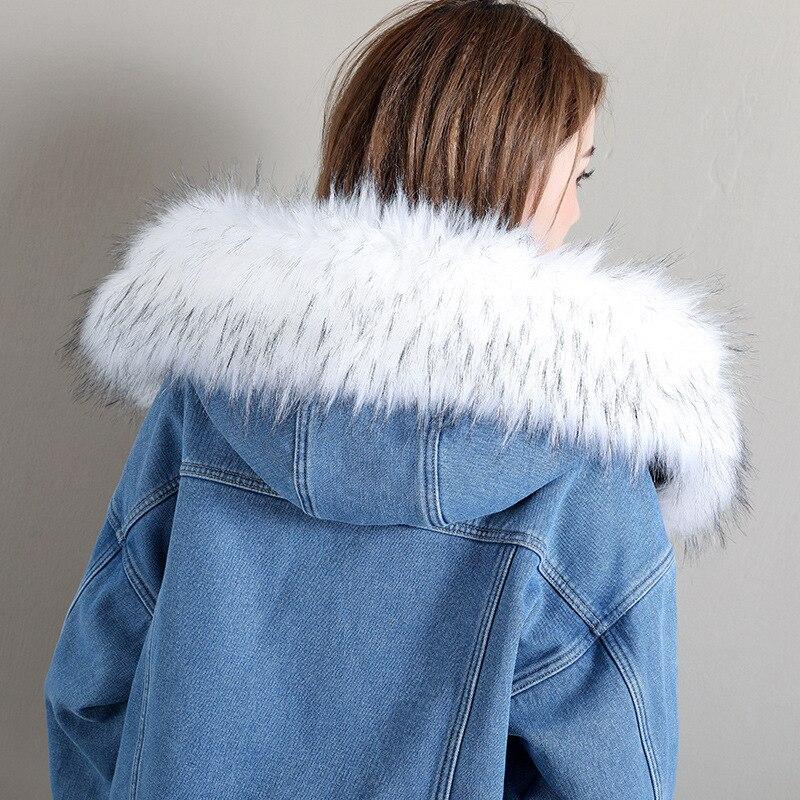 Giubbotti Giacca Da Con Faux Jeans blue Black Di Cappuccio Blu Corti Pelliccia Femminile E Nero Outwear Cappotti Donna Volpe Ispessimento Collo Sd0qtwFx0