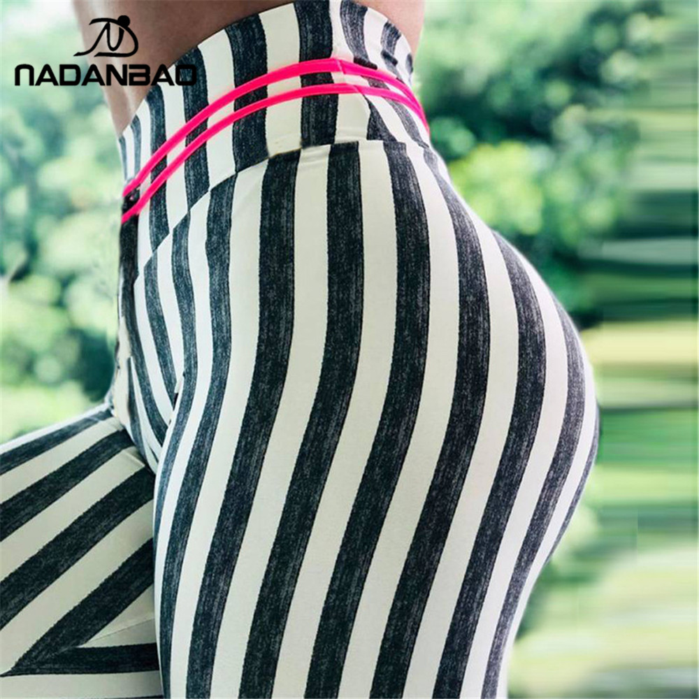 NADANBAO New Stripe Leggings Women Fitness Workout Legging For Woman Sporting High Waist Elastic Workout Leggins Plus Size Pants