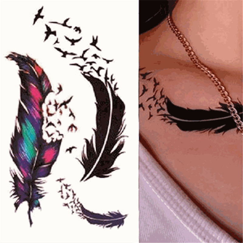 1Pc  Waterproof Temporary Tattoo Sticker Feather Body Pattern Decals Fake Tatoo Art Taty Tattoo Sticker
