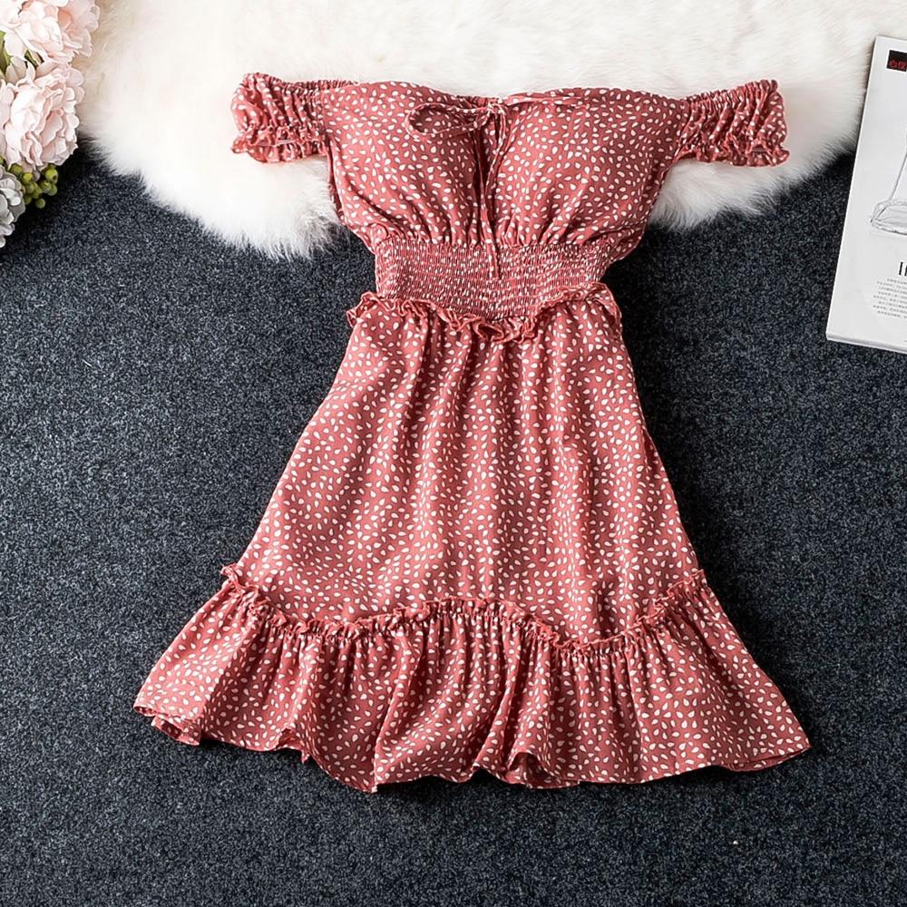 Summer Slash Neck Sexy Dot Dress Women Fashion Ruffle High Waisted Slim Vestidos Short Sleeve Elegant Stylish Womens Dresses