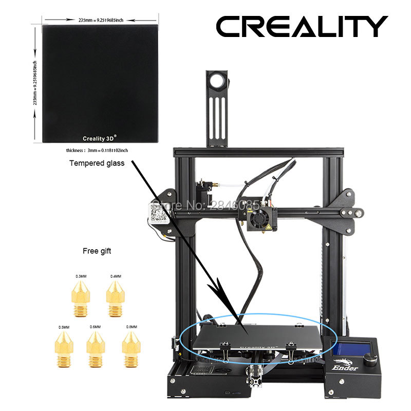 Image 4 - CREALITY 3D Printer Ender 3/Ender 3X Tempered Glass Optional,V slot Resume Power Failure Printing DIY KIT Hotbed-in 3D Printers from Computer & Office
