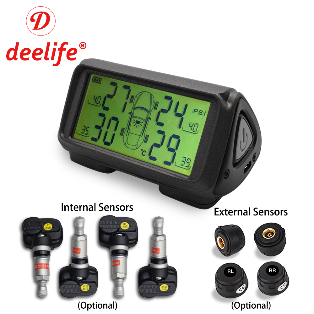 Deelife Car TPMS Tyre Pressure Monitoring System Solar Power Wireless TMPS Auto Security Alarm Systems Internal External Sensor solar power wireless lcd tpms tyre tire pressure monitor system for car truck external sensor monitoring security alarm systems