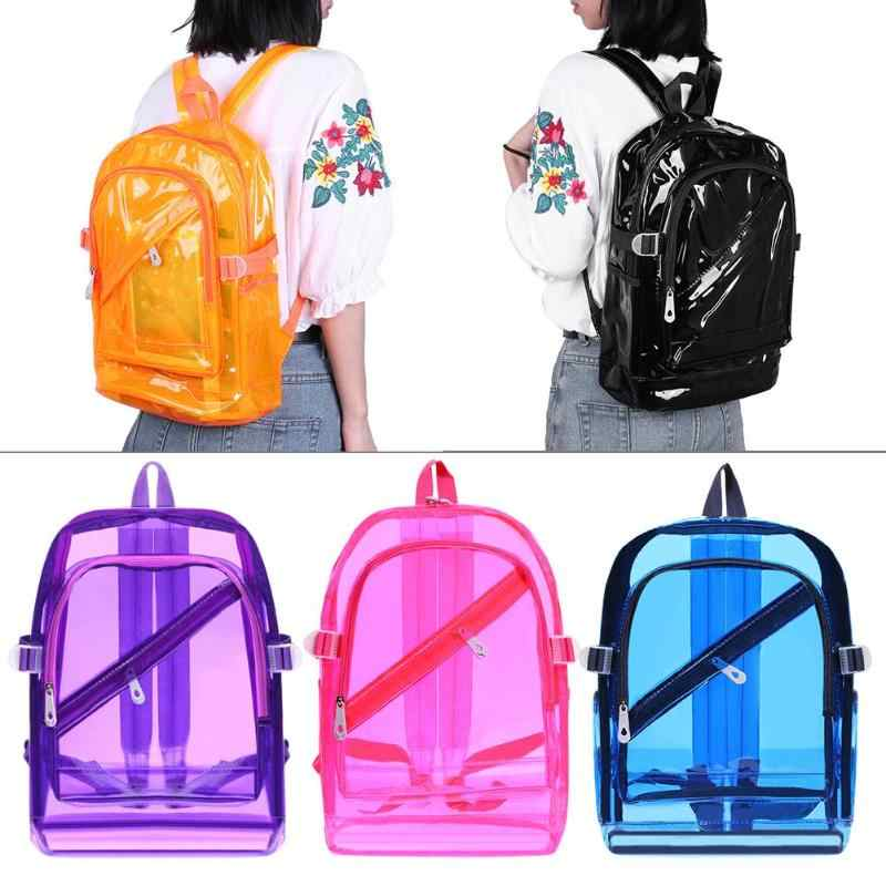 ... Unisex Waterproof PVC Clear Backpacks Teen Hologram Shoulder Schoolbags  Women Men Girls Solid Bright Transparent Backpack ...