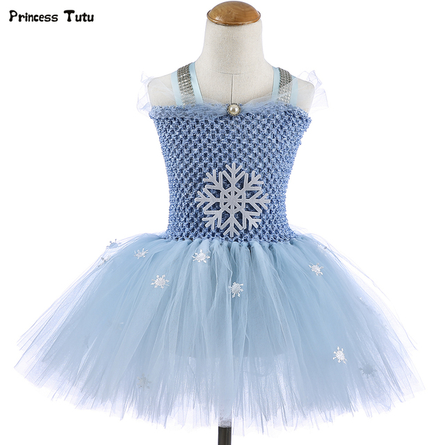 Light Blue Snowflake Princess Tutu Dress Knee-Length Elsa Tutu Dresses for Girls Birthday Party Dress Kids Halloween Costumes