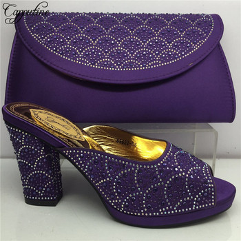 Capputine Hot Sale Italian Style  High Heels Purple Color Shoes For Party New Summer Ladies Pumps Shoes With Purse Set BL175C