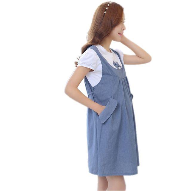 Одежда для беременных 2018 новое летнее платье с бантом в стиле пэтчворк, Свободные повседневные платья для беременных, Одежда для беременных