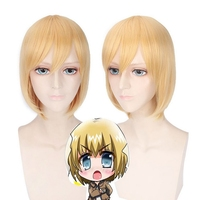 Attack On Titan Armin Arlert Golden Blonde Cosplay Wig Straight Synthetic Hair Short Blob Wigs For Halloween Costume 35cm