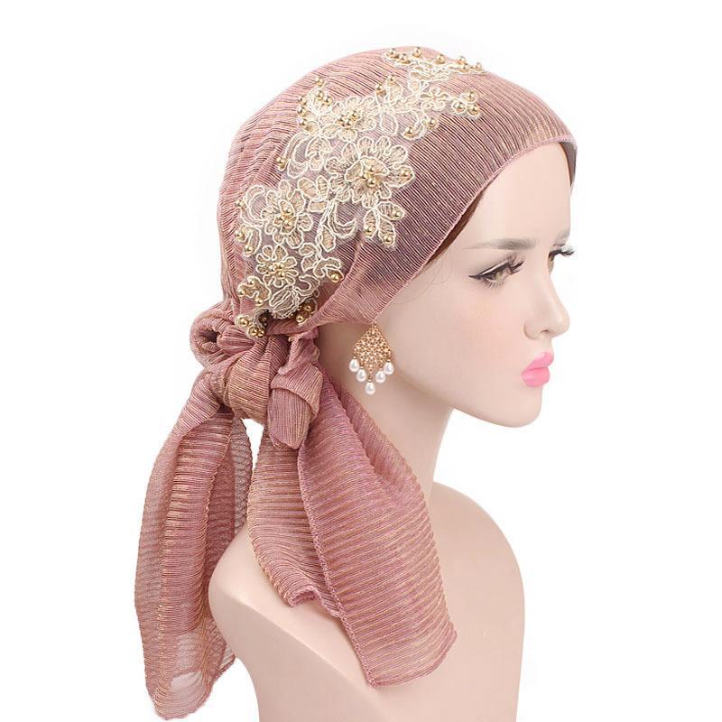 Image 5 - Women Muslim Stretch Turban Lace Flower Long Tail Hijab Scarf Cap  Elegant Bandanas Embroidery Bead Cancer Chemo Head Wrap ScarfIslamic  Clothing