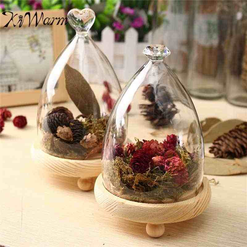KiWarm Fashion Glass Display Cloche Bell Jar Dome Flower Immortal Preservation Vase Wooden Base Home Decor Ornament