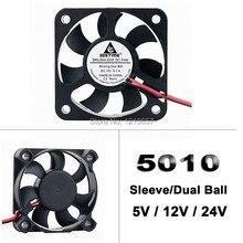 10 штук в партии 5 см 2Pin Dupont 5 в 12 В 24 В 5010 50x50x10 мм 50 мм DC мини Радиатор кулер вентилятор охлаждения мяч/рукав