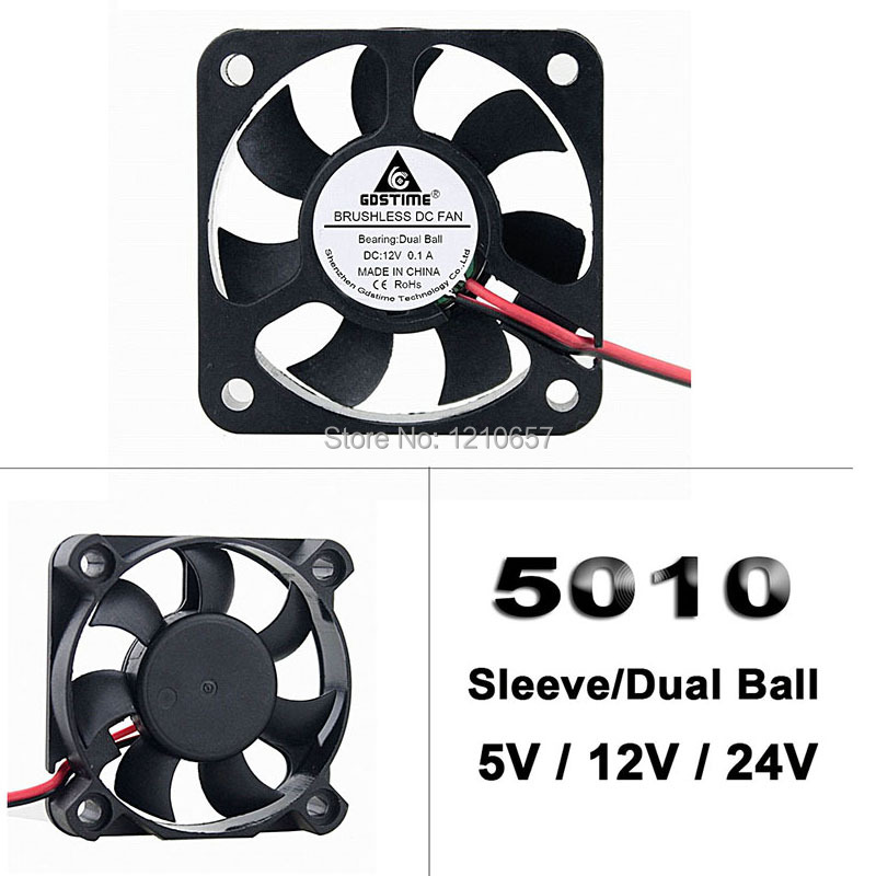 10 Pieces lot 5cm 2Pin Dupont 5V 12V 24V 5010 <font><b>50</b></font> x <font><b>50</b></font> x 10mm 50mm DC Mini Radiator <font><b>Cooler</b></font> Cooling Fan Ball / Sleeve image