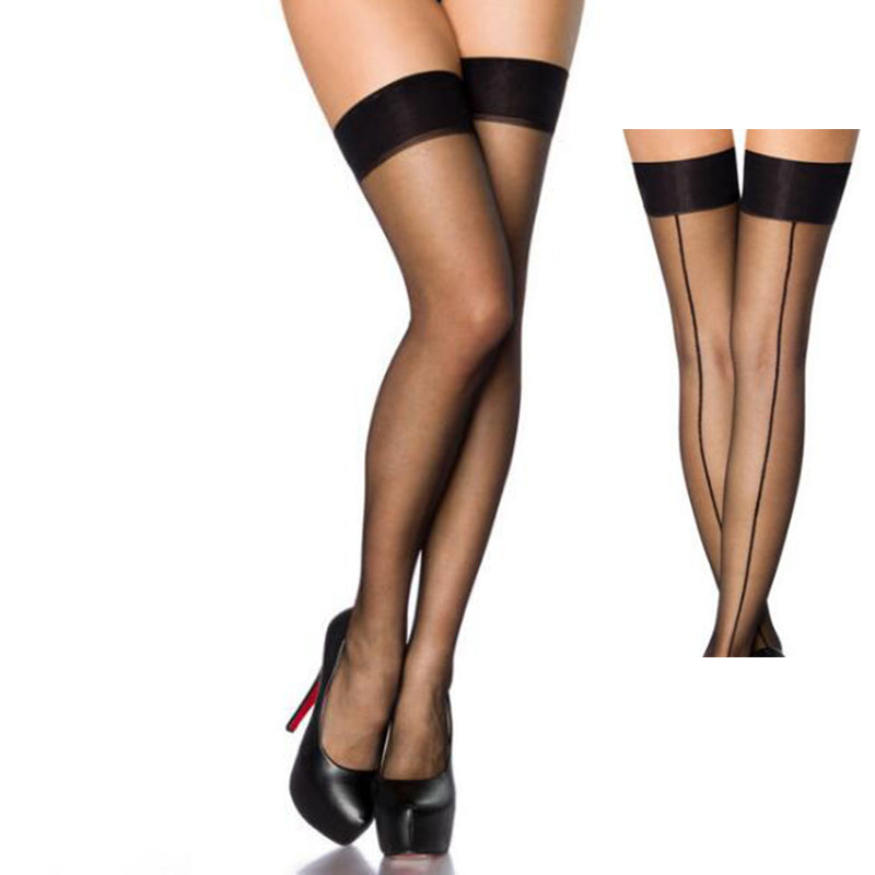 Hot Patchwork Sexy Stockings For Women Sexy Lingerie Retro Back Line Thigh High Nylon Stockings Transparent Over Knee Stockings