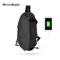 Heroischen Ritter Männer Umhängetasche Männer USB Lade Design Mann Brust Tasche Pack Anti Theft Schulter umhängetaschen für Männer reise