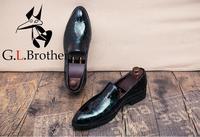 Gommino/Мужские модельные туфли из натуральной лакированной кожи с градиентным принтом, мокасины на низком каблуке, повседневная обувь для вож