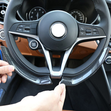 2 Pcs For Alfa Romeo Giulia Stelvio 2017-2019 Real Carbon Fiber Steering Wheel Decoration Frame Strip Cover Trim Car Accessory lapetus interior refit kit for alfa romeo stelvio 2017 2018 2019 abs steering wheel strip lid cover trim carbon fiber style