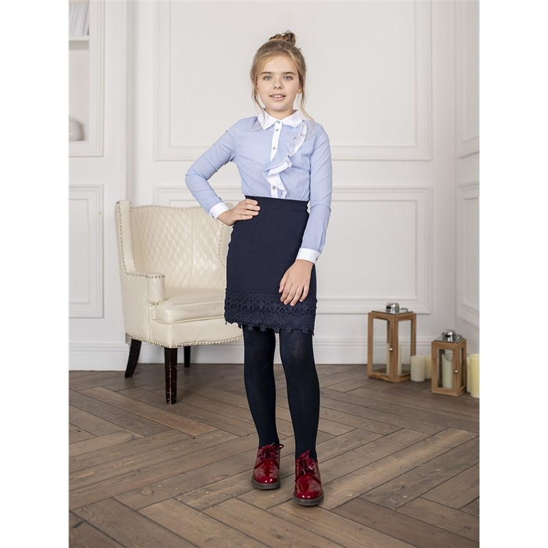 Фото - [Available with 10.11] Blouse clothing for girls contrast lace keyhole back blouse