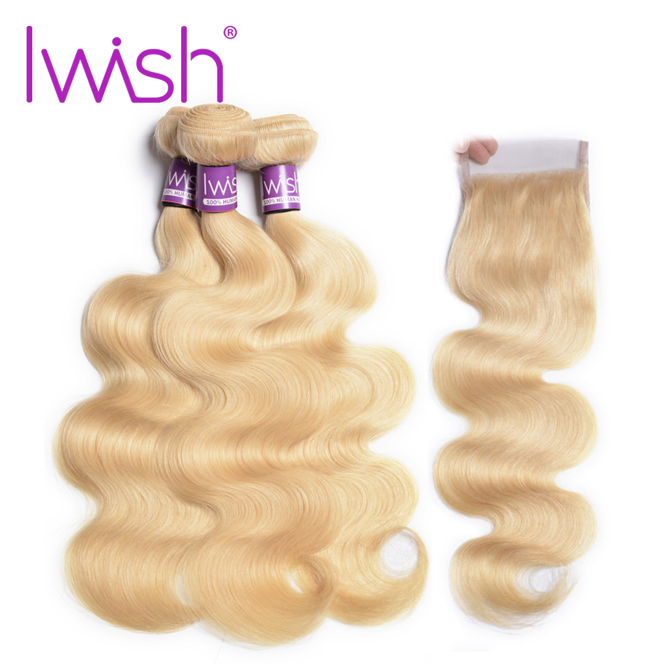3/4 Bundles With Closure Hair Extensions & Wigs Honey Blonde Bundles With Closure 3 4 613 Body Wave Brazilian 100% Human Hair Iwish Remy Hair Blonde Weave