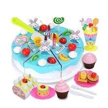 54Pcs Birthday Cake Children Simulation Cake Play Kitchen Pretend Play Toys Miniature Fun Kitchen Plastic Food Cutting Fun diy simulation fruit cake birthday toys set 54pcs
