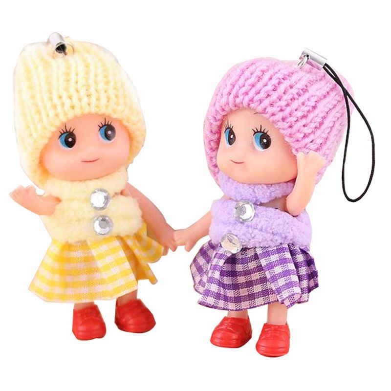 5 ピース/セット 8 センチメートルスモールミニ人形携帯電話のペンダント帽子ピエロぬいぐるみペンダントかわいい格子縞のスカート混乱人形キーリング