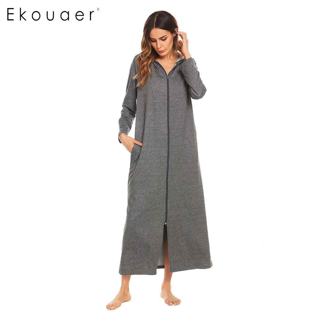 a0c4457e3e Ekouaer Robes Women Dressing Gown Bathrobes Zip-front Women Long Sleeve  Hooded Bathrobe Spa Kimono