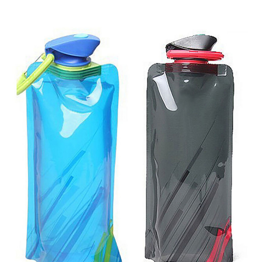 Image 3 - New Fashion 700ml Reusable Foldable Flexible Water Bottle Pouch Bag Camping Hiking Tool-in Water Bags from Sports & Entertainment