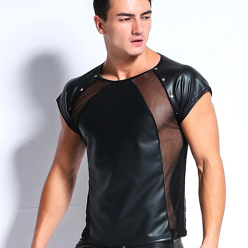 2018 New Fitness Male Sexy Hormones Tees Muscle Faux Leather Rivet Spliced See Through Mesh Short Sleeve Gigolo Men T Shirt