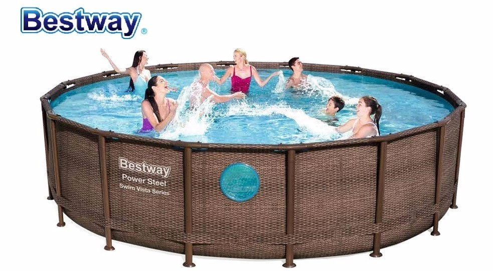 56725 Bestway 4.88mx1.22m Power Steel Swim Vista Frame Pool Set  16'x48