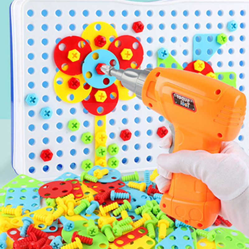 149pcs Children DIY Electric Drill Screw Assembly On Jigsaw Puzzle Educational Puzzle 3D Creative Tool Kit Toy For Boys149pcs Children DIY Electric Drill Screw Assembly On Jigsaw Puzzle Educational Puzzle 3D Creative Tool Kit Toy For Boys