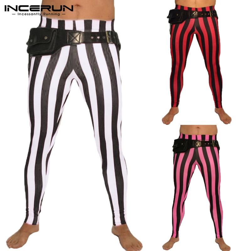 NEW Striped Pant Bodybuilding Pants Leggings Joggers Trousers Yoga-pants Skinny Elastic Waist Men Slim Trousers Sweatpants Track