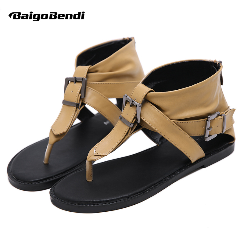 Mode femme gladiateur sandales couverture talon Flip Flop sandales Rome filles boucle ceinture haute coupe d'été sandales rétro appartements