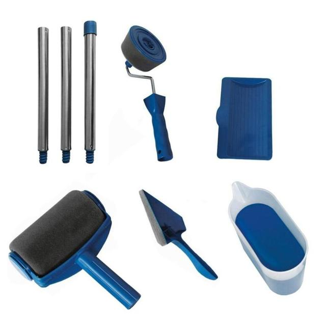 8 stks/set Naden Verf Roller Borstel Gereedschap Set Huishoudelijke Gebruik Muur Decoratieve Handvat Stroomden Edger Tool Schilderen Borstel