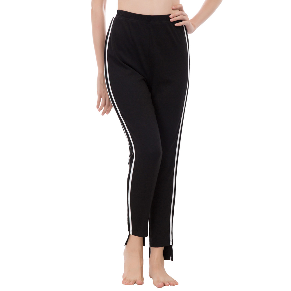 Black Long   Pants   Women Fashion Slim Fit Contrast Stripe Cropped Length   Pants     Capri   Leggings