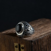 2018 New Time limited Men Anel Feminino Agate Rings S925 Thai Resto Ancient Ways Is Technology Male Fashion A Undertakes
