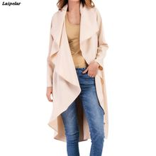 2018 Womens Ladies Ruffle Irregular Casual Loose Coat Outwear Stylish and fashion  Design Long Windbreaker Laipelar