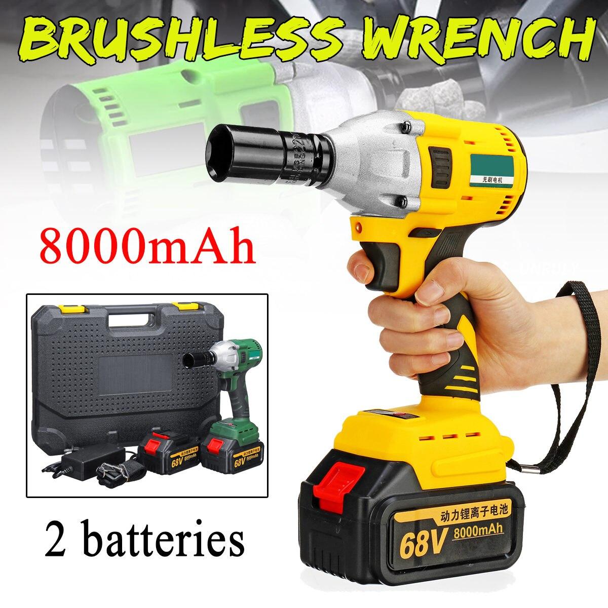 MAh 8000 V Chave Elétrica 2 68 Baterias Carregador 1 Brushless Sem Fio Unidade 460N. m Chave Elétrica Ferramentas De Poder