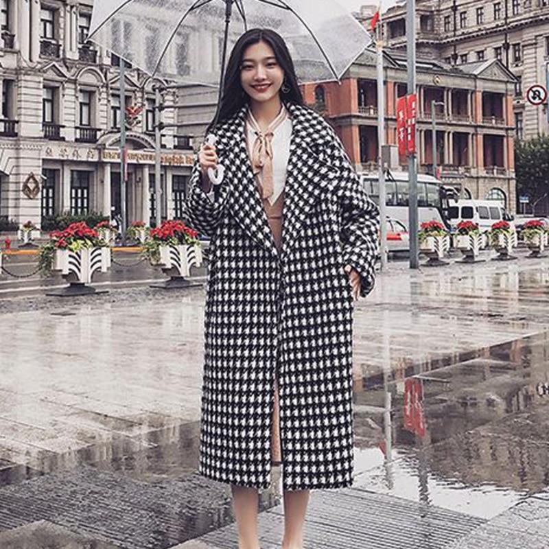 Blanco Graph Larga Abrigo Coreana Mujer Chaquetas Coloring Tela 2019 8WnSzqp