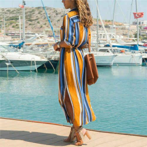 Женские летние полосатые Бохо платья женские повседневные длинные макси сарафаны на весну осень стильные женские рубашки-стильное платье