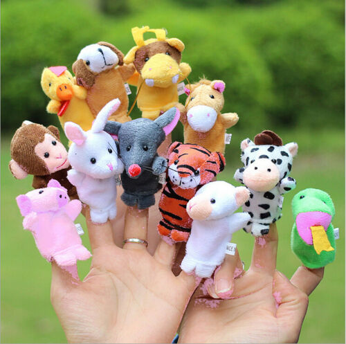 Family Finger Puppets Cloth Doll Baby Educational Hand Cartoon Animal finger Toys Sets(China)