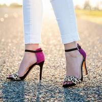Hot Selling Leopard Flock Leather Open Toe Sandals Purple Mixed Colors Ankle Buckle Strap Gladiator Shoes High Quality