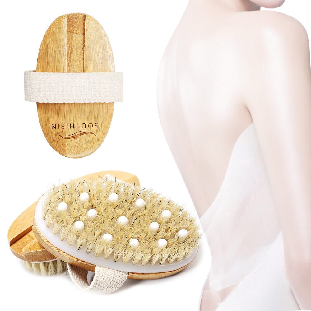 Elliptical Two-in-one Body Massage Brush Natural Bristles Body Brush Massage Head To The Dead Skin Bathing Shower SPA Tools