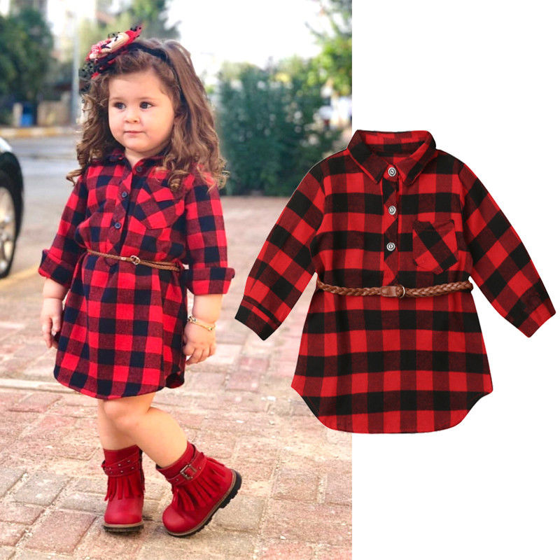 0-5Y Newborn Kids Baby Girls Red Plaid Princess Party Long Sleeve Dress Waistband Clothes image
